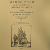 The most noble and famous travels of Marco Polo [title page].