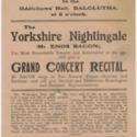 The Yorkshire Nightingale (Mr Enos Bacon) grand concert recital flyer
