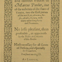 The most noble and famous travels of Marco Polo [title page of the first edition].