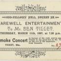 Farewell entertainment to Mr Ben Tillet, Smoke Concert ticket
