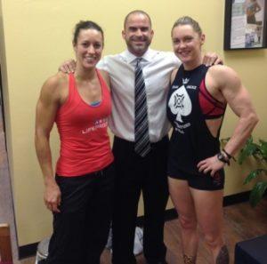 Dr. TJ with athletes patients