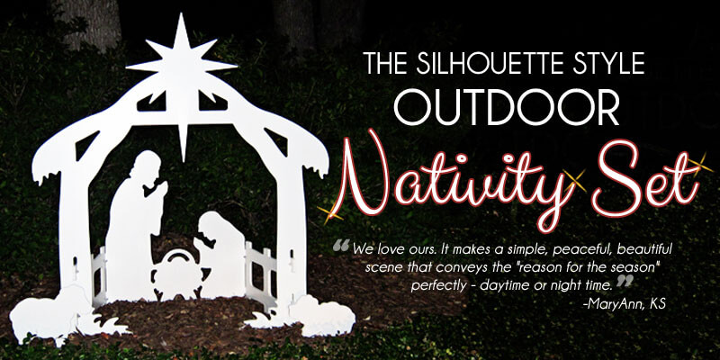 Outdoor Nativity Set At Night