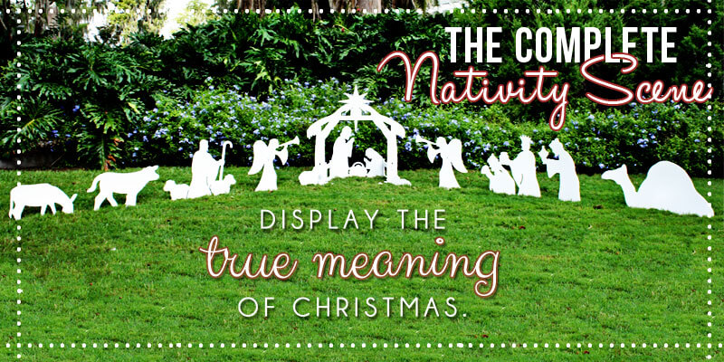 Outdoor christmas yard nativity scene are