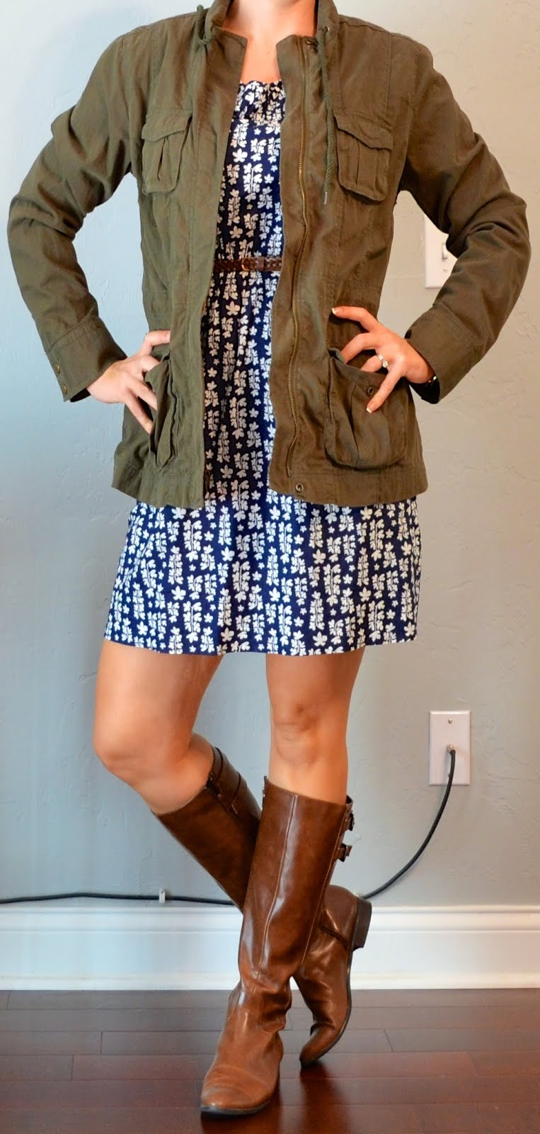 Outfit Post Blue Floral Dress Green Army Jacket Brown