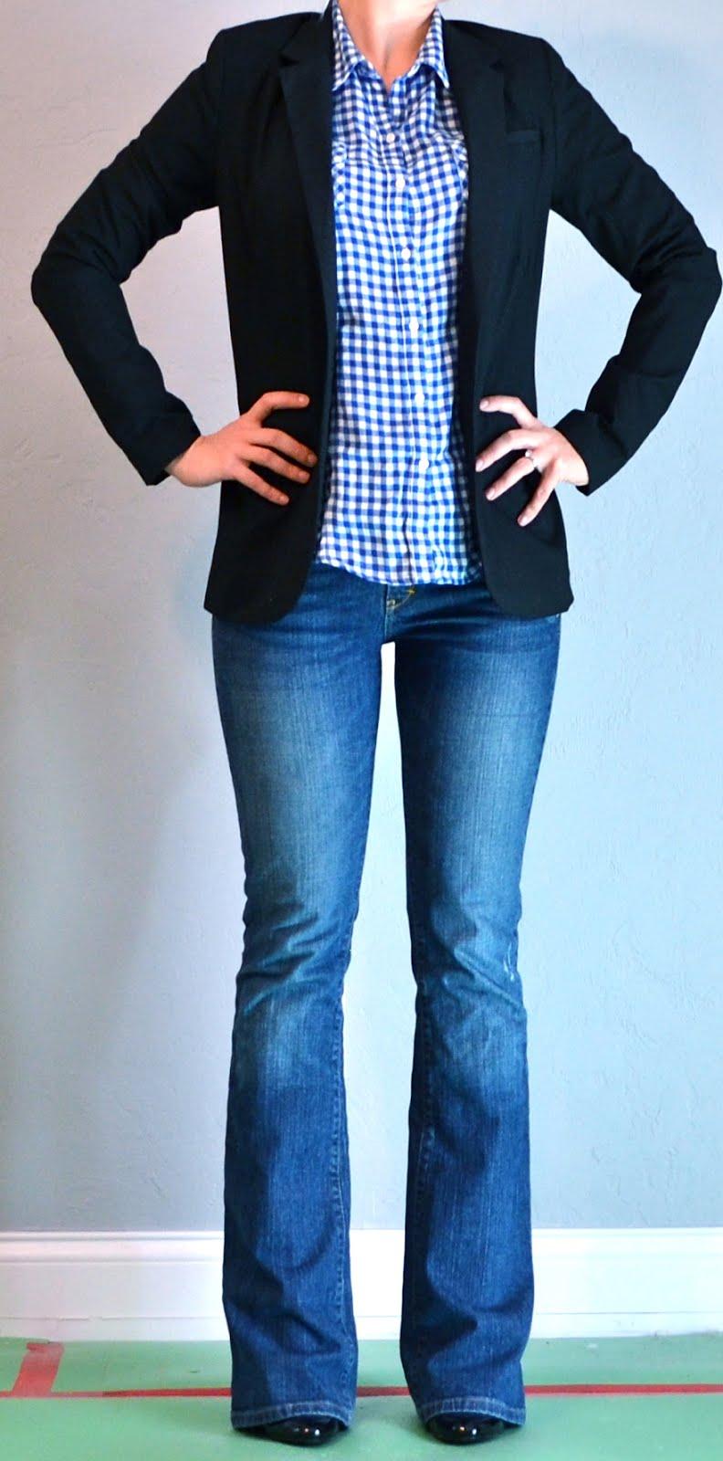 Outfit Posts: Blue Plaid Shirt, Black Jacket, Jeans