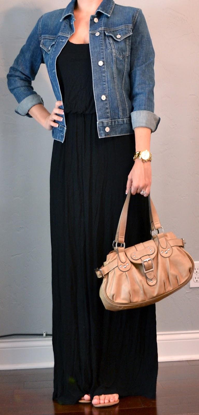 outfit post: black maxi dress, jean jacket