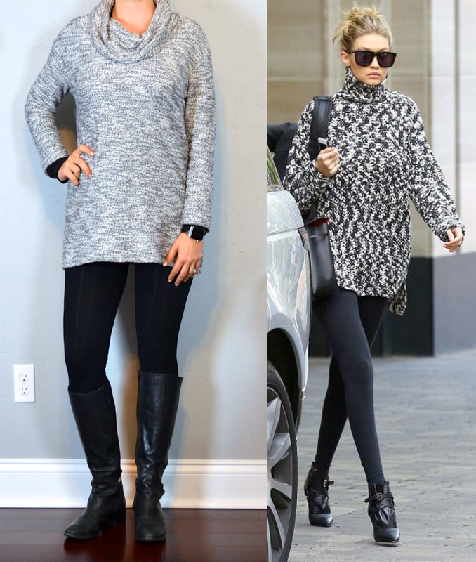 Outfit Post Grey Cowl Neck Sweater Black Leggings Black Riding Boots