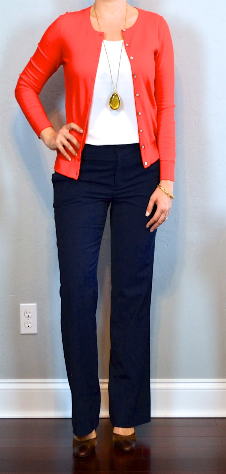 Outfit Posts Red Cardigan White Camisole Navy Pants Brown Mary Janes