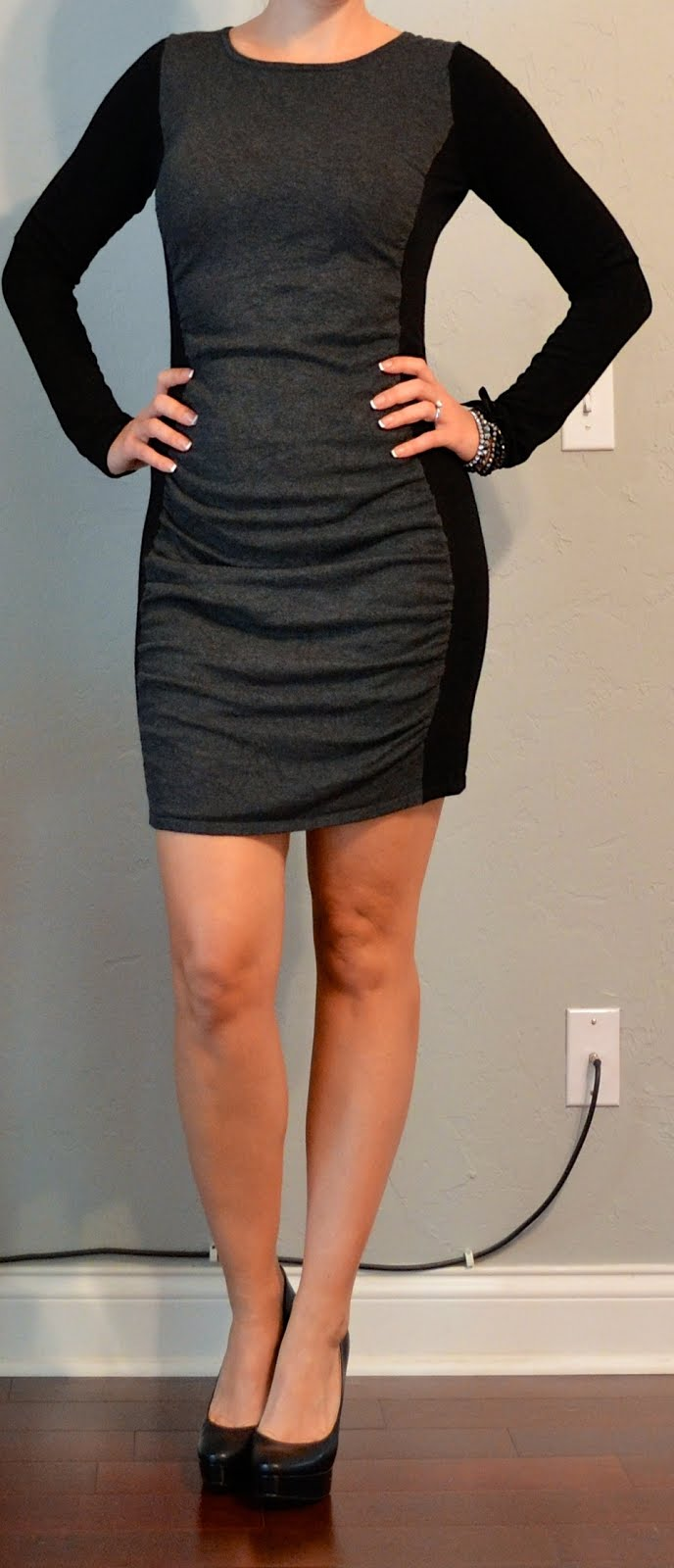 Outfit Post Grey Black Color Blocked Sweater Dress Black Pumps