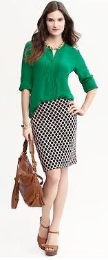 Outfit Post Kelly Green Blouse Polka Dot Pencil Skirt