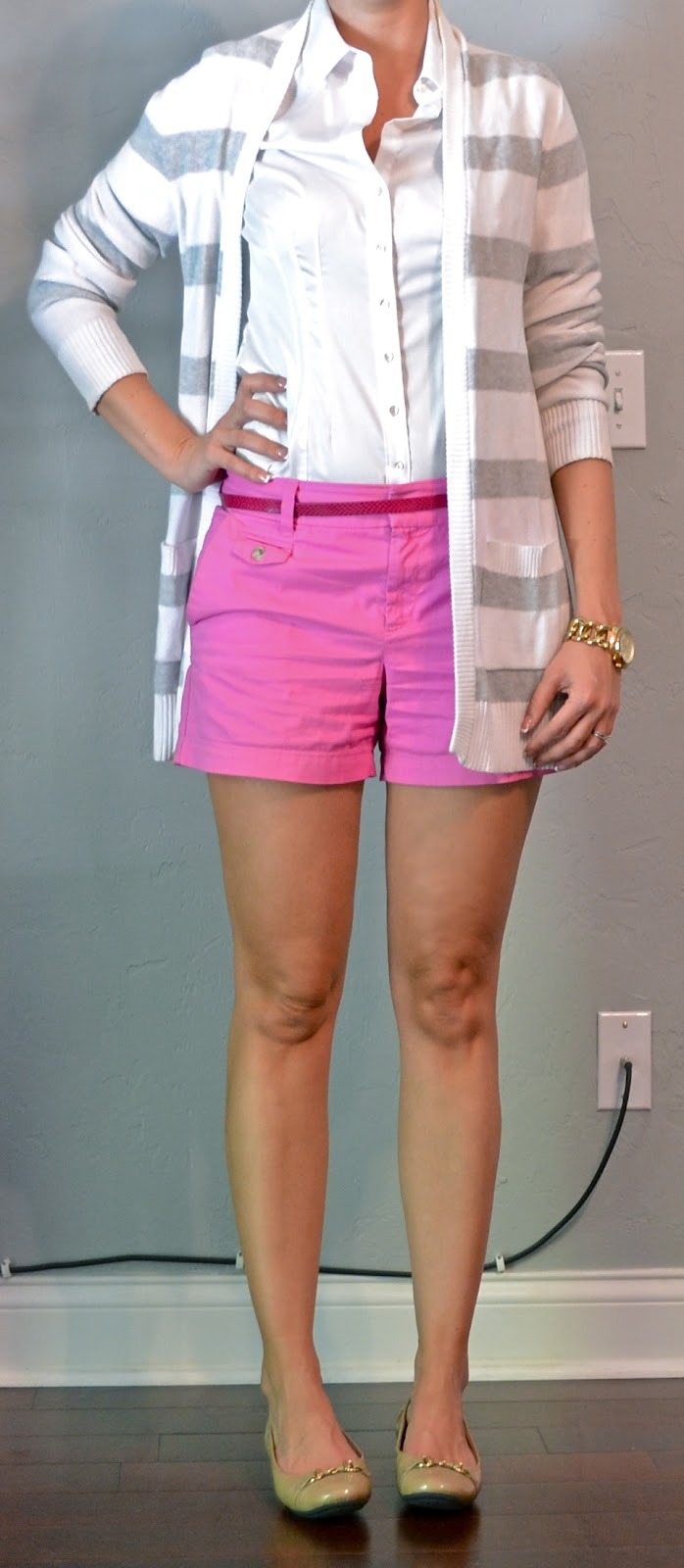 Outfit Post Pink Shorts Grey Striped Cardigan