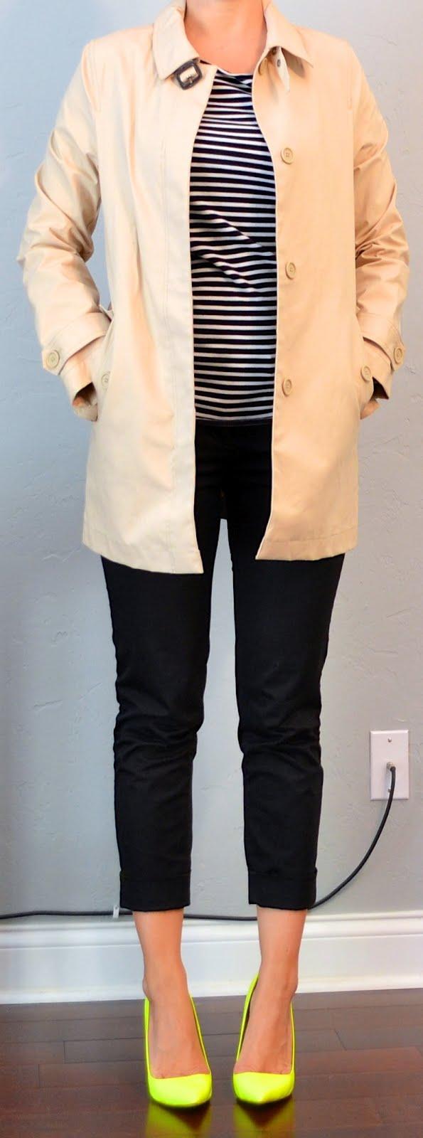 Outfit Post Striped Shirt Black Cropped Pants Tan