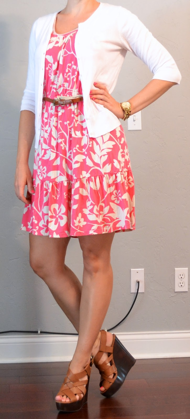 Outfit Post Pink Floral Dress White Cardigan