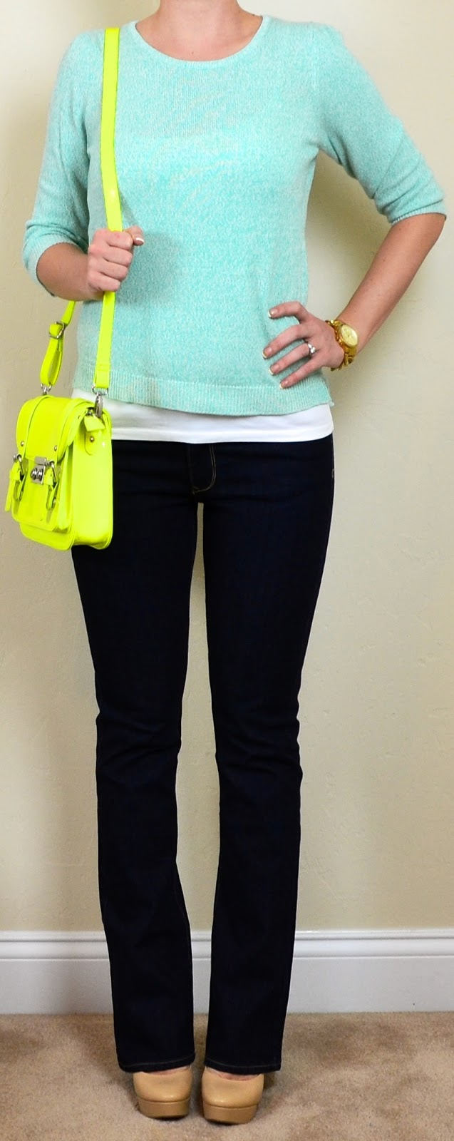 Outfit Post Dark Wash Bootcut Jeans Mint Sweater Neon