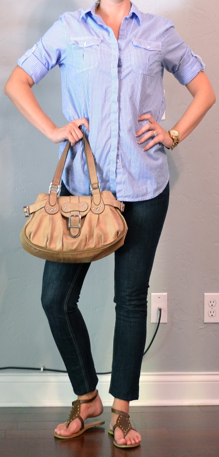 Outfit Post Skinny Jeans Blue Button Down Gladiator Sandals
