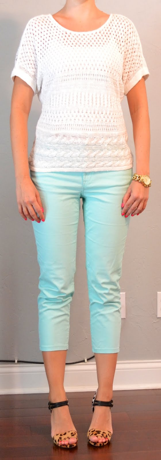 f11d3204cdc Mint cropped jeans – Loft Shoes  Multi-colored leopard heels – ShoeMint.  Accessories  Gold link watch -Michael Kors