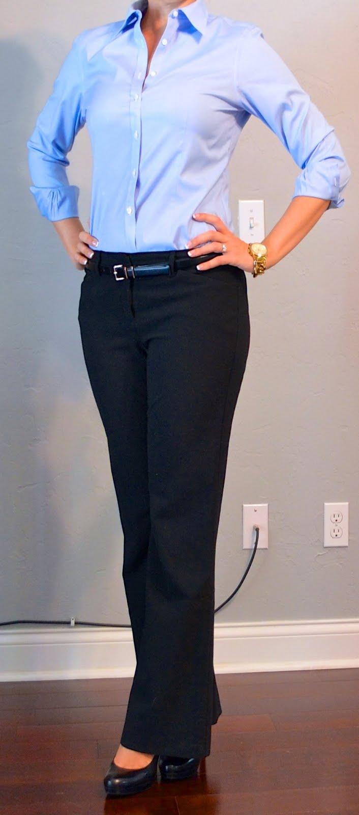 outfit posts: blue button down shirt, black slacks