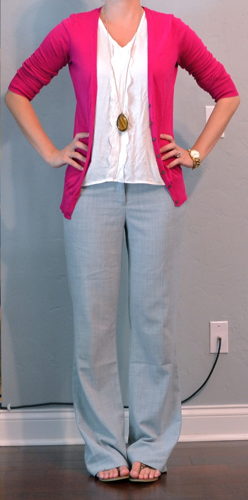 Outfit Posts: Pink Cardigan, Grey Pants, White Top, Flip Flops