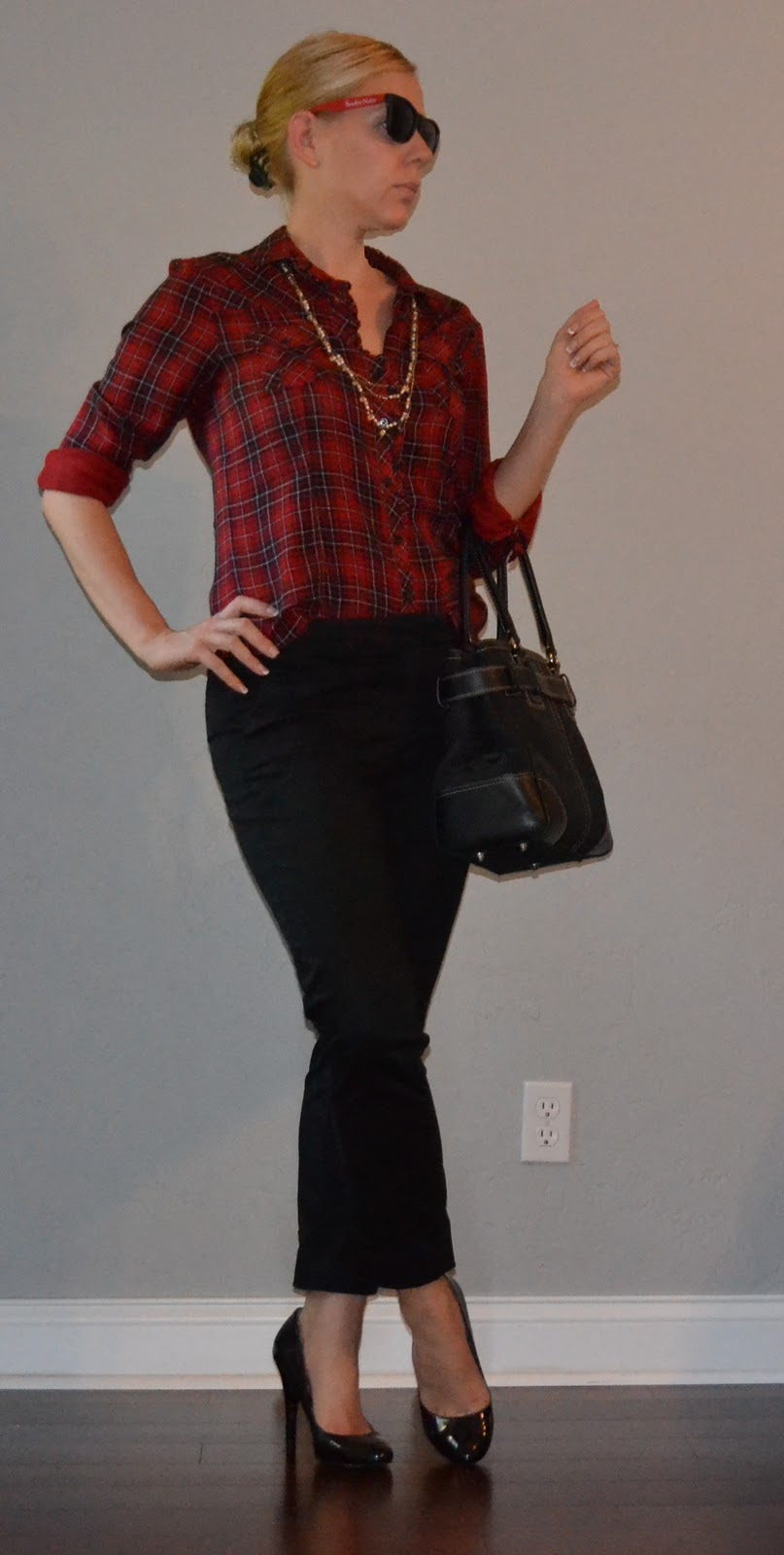 outfit post red plaid shirt  black cropped pants