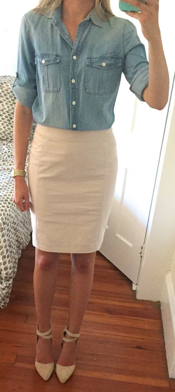 Outfit Post Sister Week Chambray Shirt Cream Pencil Skirt Beige Ankle Strap Heels
