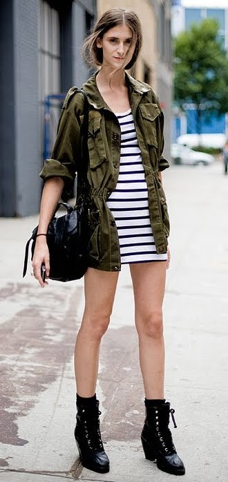 Outfit Post Military Jacket Striped Dress Black Boots