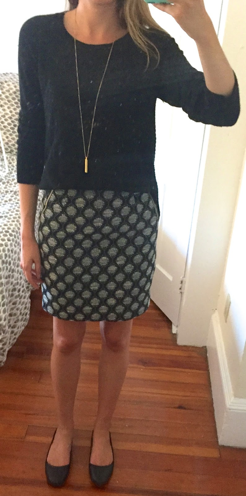 new product 5b822 c8294 outfit post – sister week  black sweater, patterned pencil skirt, black  flats