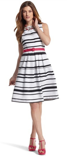 4cb55cb3775c outfit post  black and white striped dress with pink belt