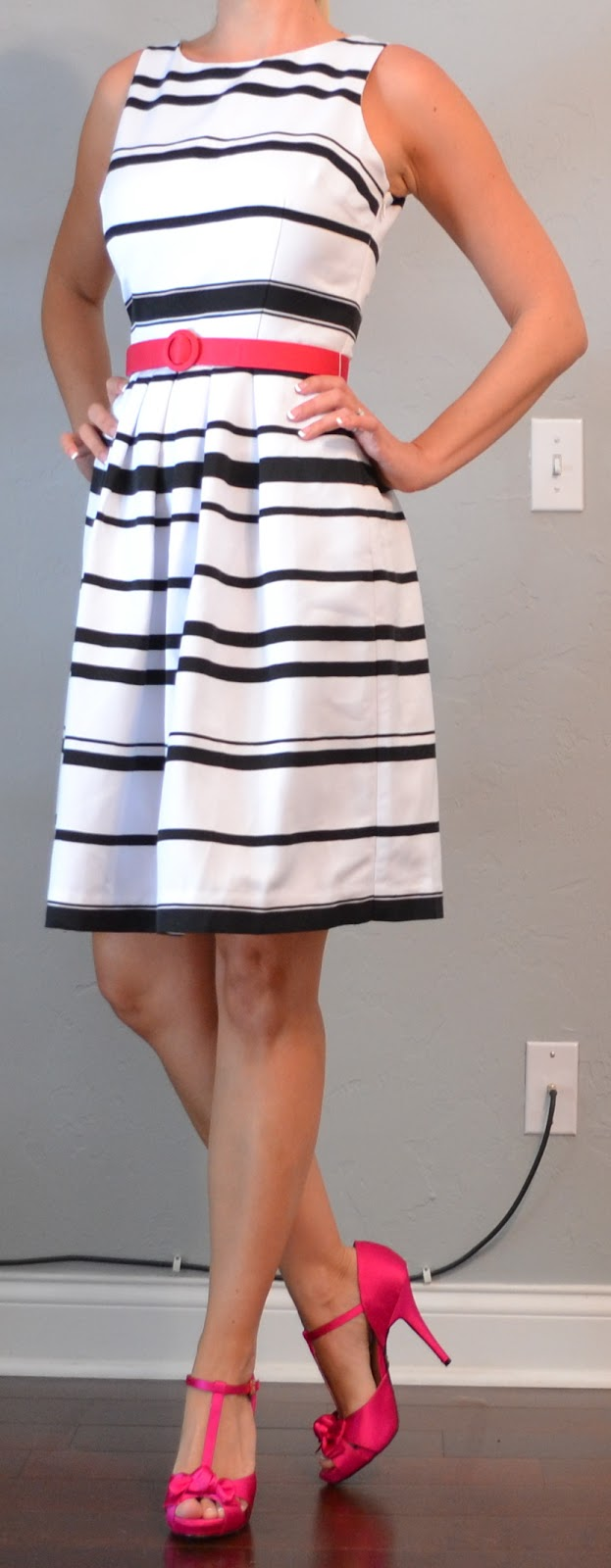 Outfit Post Black And White Striped Dress With Pink Belt