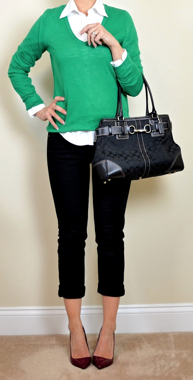 Outfit Post Kelly Green Sweater White Button Down Black
