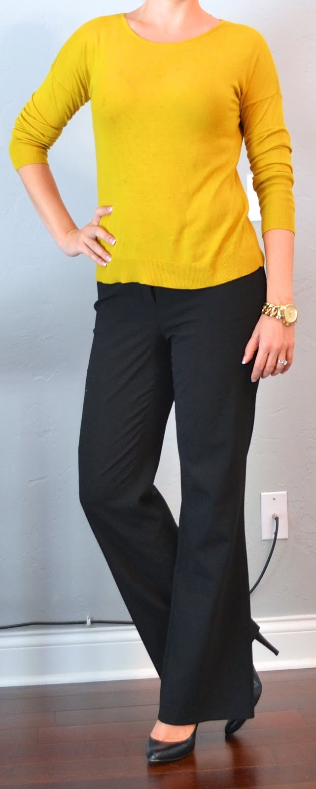 Outfit Post Mustard Sweater Black Pants