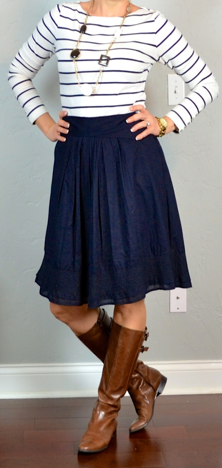 Outfit Post Striped Shirt Navy Aline Skirt Brown Riding