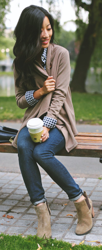 Outfit Post Blue Check Button Down Oatmeal Cardigan