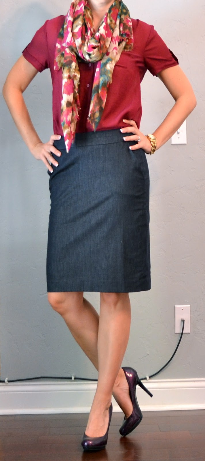 a2fb1aa517d9 outfit post: denim pencil skirt, maroon camp shirt, floral scarf
