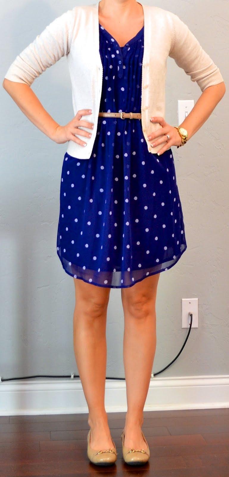 Outfit Post: Polka Dot Dress, Cream Cardigan, Gold Belt