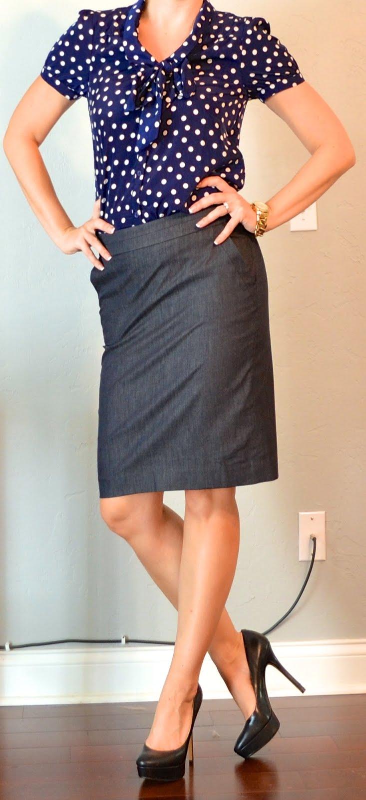 outfit post: polka-dot blouse, denim pencil skirt