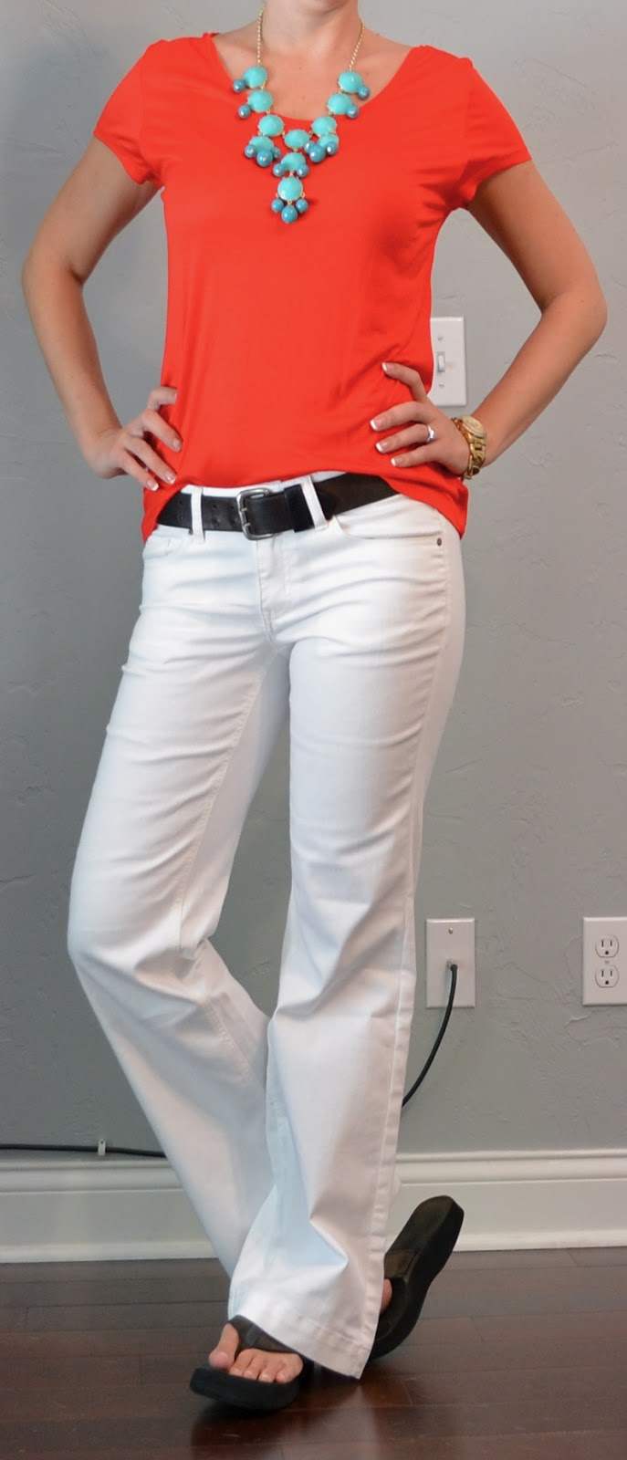 Outfit Post Red T-Shirt, White Jeans, Teal Necklace-1195