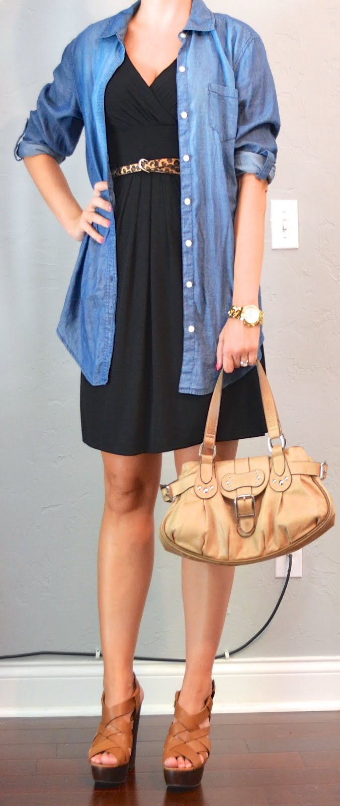 Outfit Post Black Dress Chambray Shirt Leopard Belt
