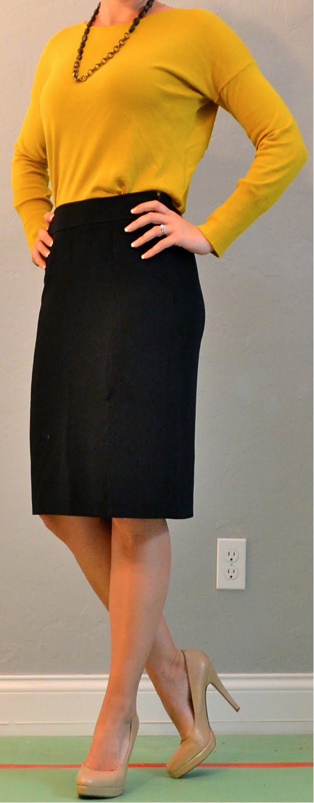 Outfit Post Mustard Top Black Pencil Skirt