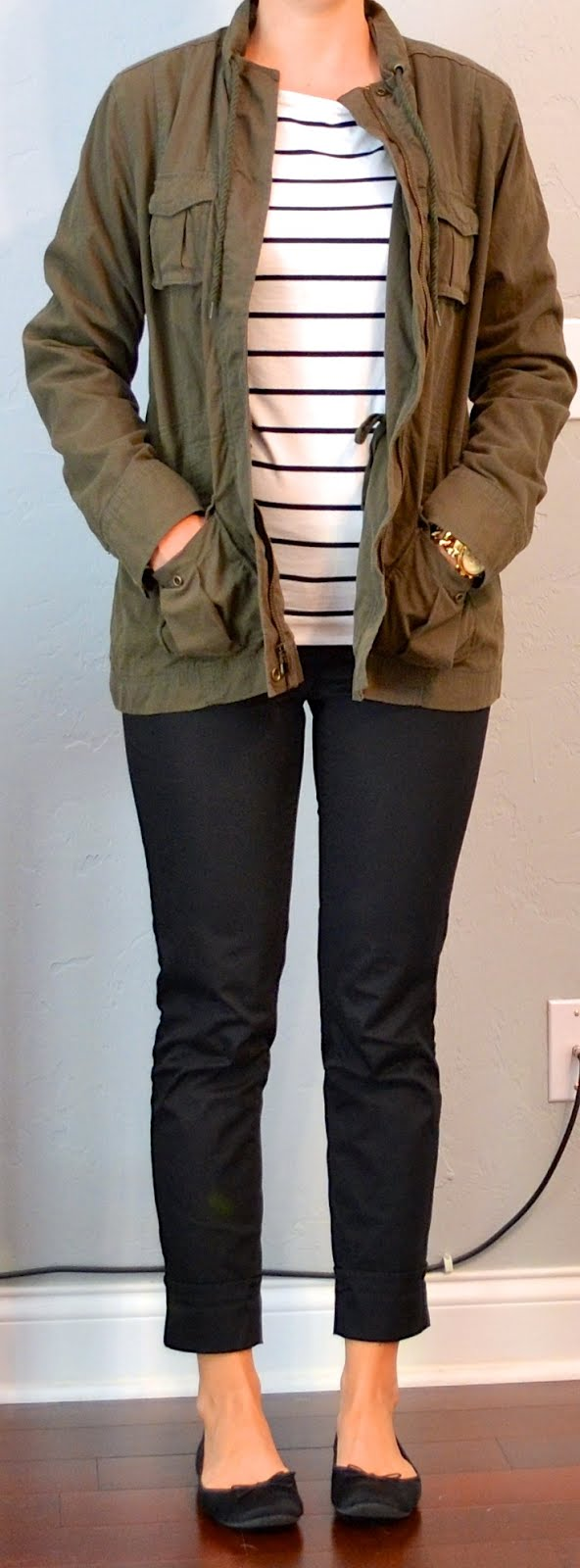 Outfit Post Striped Shirt Military Jacket Black Cropped