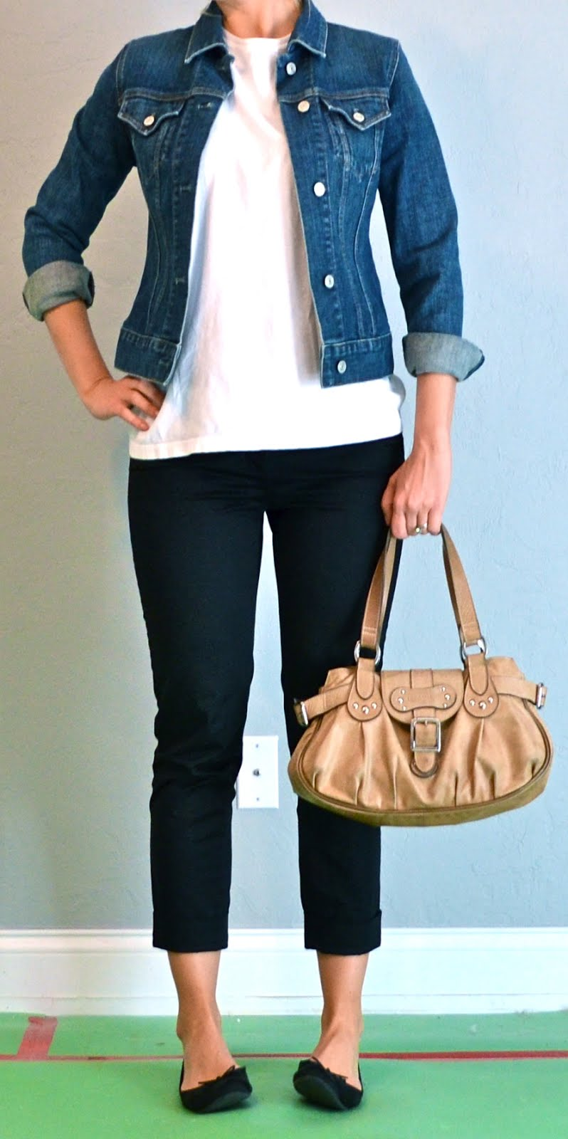 outfit post: black cropped pants, white shirt, jean jacket