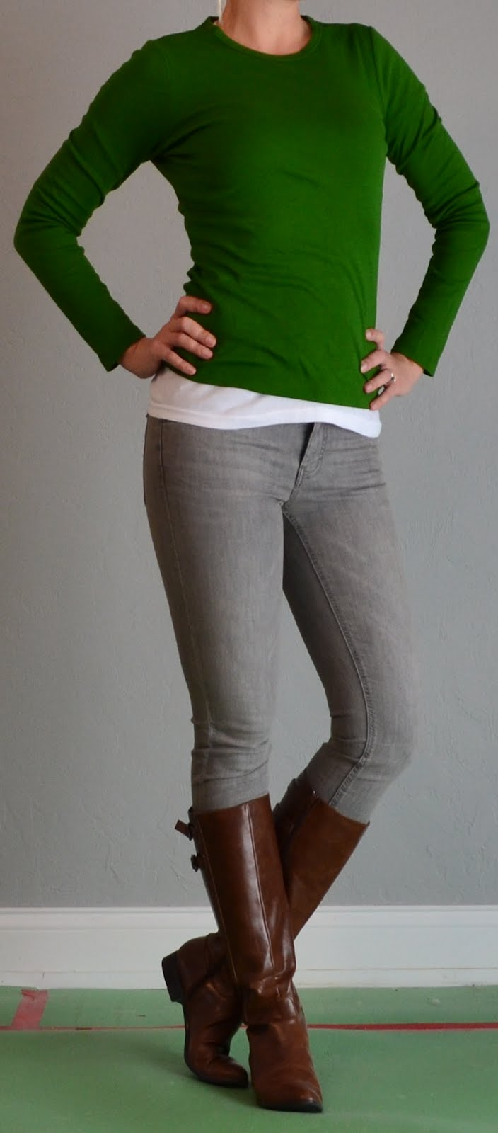 Outfit Posts Green Shirt Grey Jeans Brown Boots
