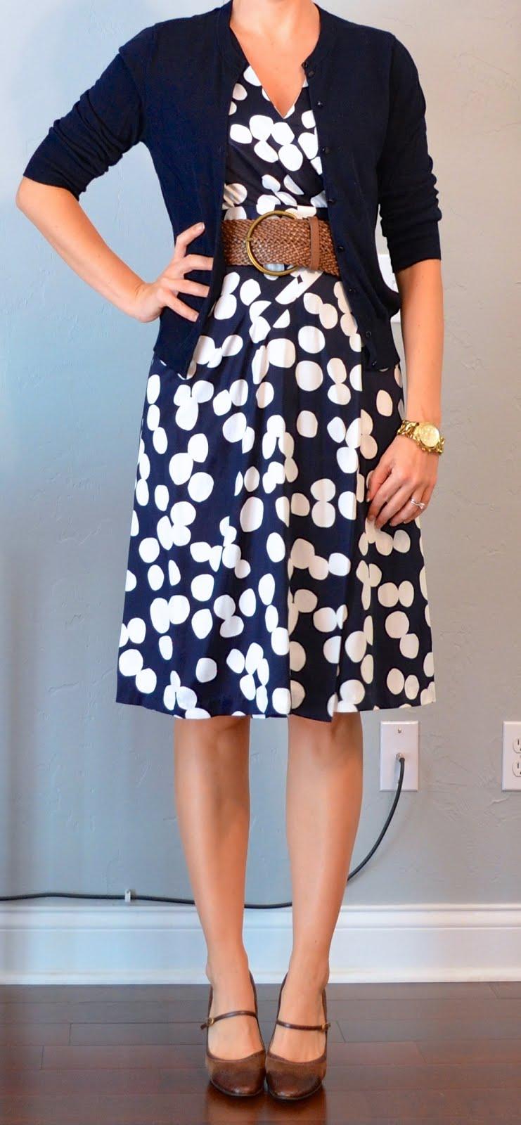outfit post: navy aline skirt, polkadot blouse, mustard