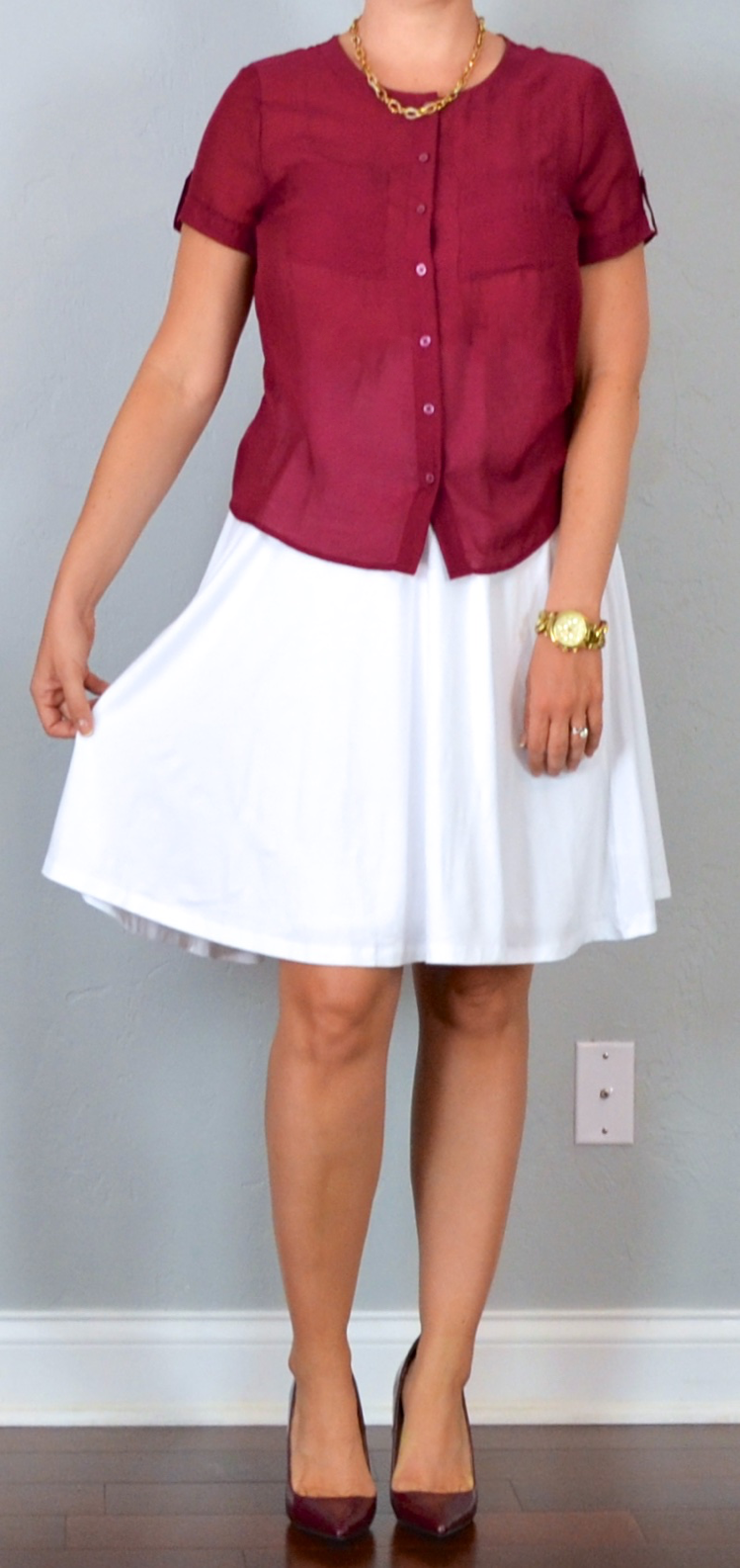 55f11f3db629 outfit post: maroon camp shirt, white midi skirt, burgundy pointed toe pumps