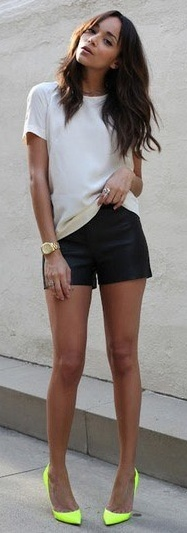 Outfit Post Black Shorts White T Shirt Neon Yellow Heels