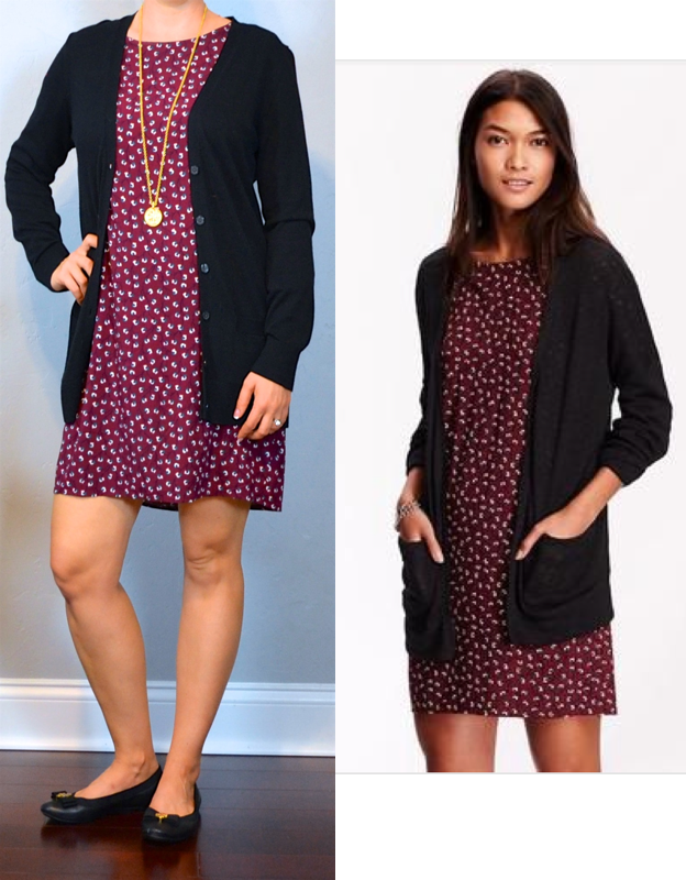 bdc5c38fcf0a outfit post  burgundy printed shift dress