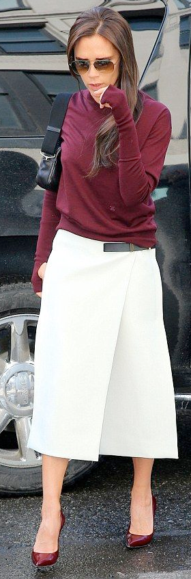 6ab5dfd00704 outfit post: maroon camp shirt, white midi skirt, burgundy pointed ...
