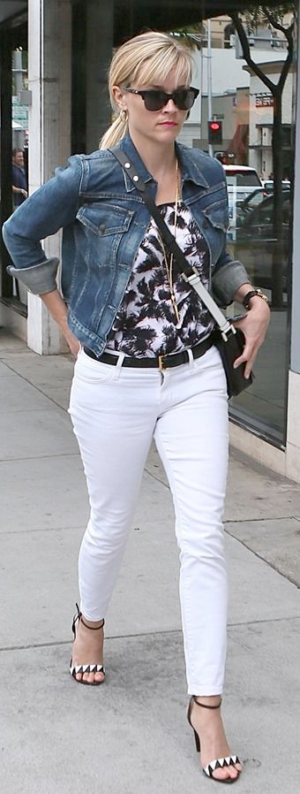retail prices beauty find lowest price outfit post: white jeans, print top, jean jacket, black ...