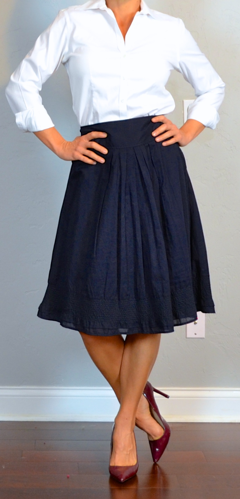 5892031af5dd88 outfit post: navy a-line midi skirt, white button down shirt, burgundy  pointed toe pumps