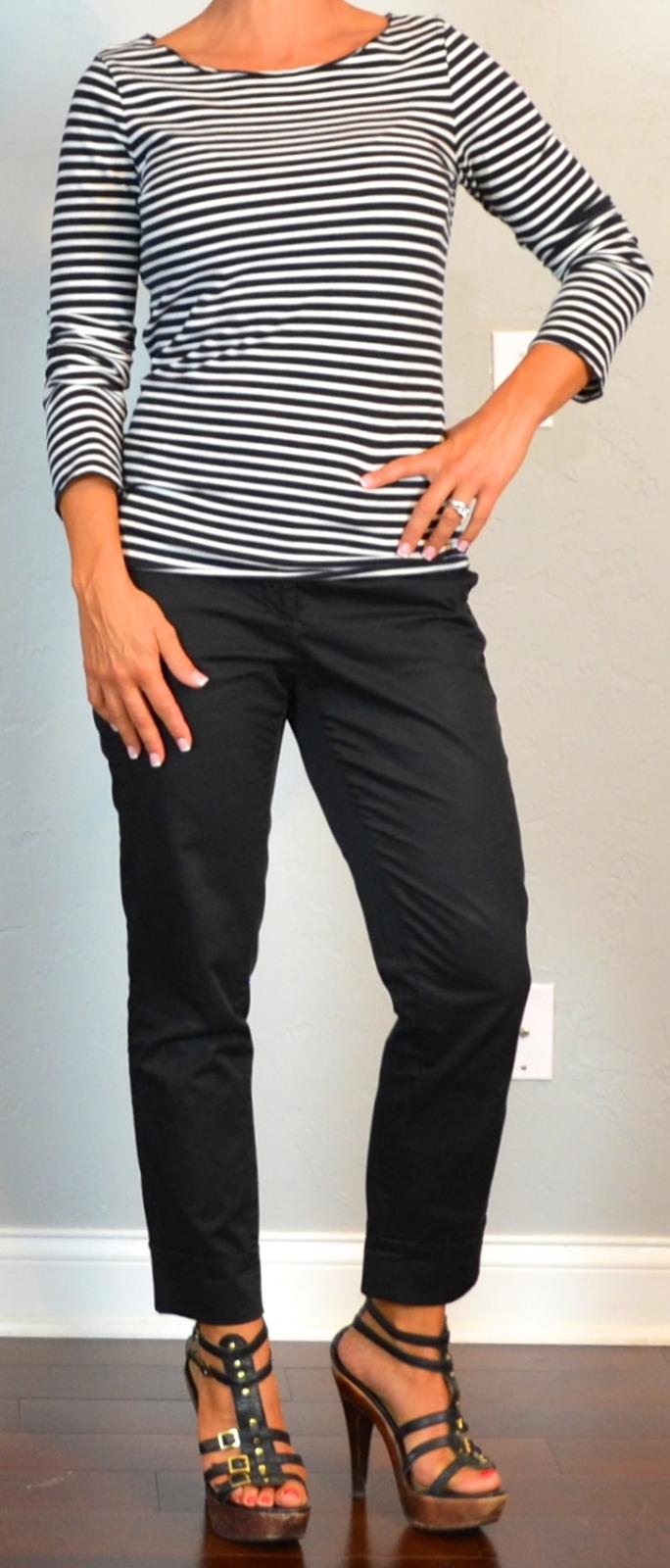 4c70af5a367f outfit post: striped long sleeved shirt, black ankle pants, gladiator heels