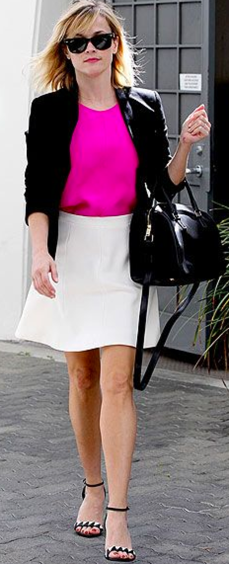 Outfit Post Coral Top White Fluted Skirt Black Jacket